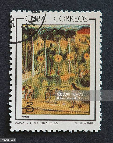 Cuban 1965 stamp depicting the painting of scenery with sunflowers by Victor Manuel Victor Manuel Garcia Valdes was a Cuban painter of the Avantgarde...