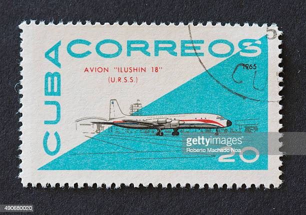 Cuban 1965 stamp from the 'Avion' series depicting the 'Ilyushin 18' aircraft manufactured in USSR