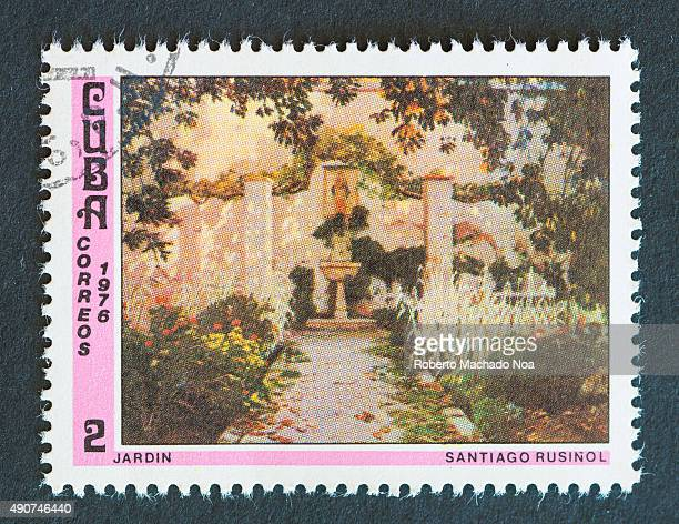 Cuban 1976 stamp depicting a painting of a garden by Santiago Rusinol Santiago Rusinol was a Spanish painter poet and playwright