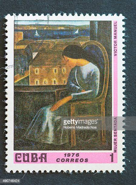 Cuban 1976 stamp depicting the painting of a Sitting Woman by Victor Manuel Victor Manuel Garcia Valdes was a Cuban painter of the Avantgarde movement