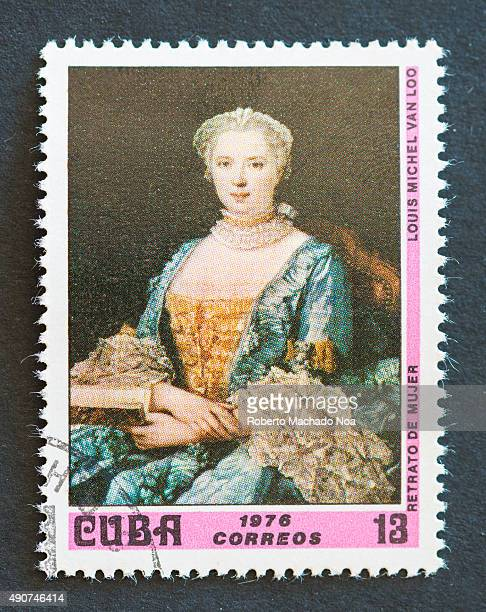 Cuban 1976 stamp depicting the painting titled 'Portrait of woman' by LouisMichel van Loo LouisMichel van Loo was a French painter