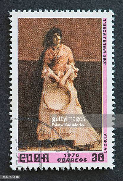 Cuban 1976 stamp depicting the painting titled 'The Beautiful' by Jose Arburu Morell Jose Arburu Morell was a colonial Cuban painter