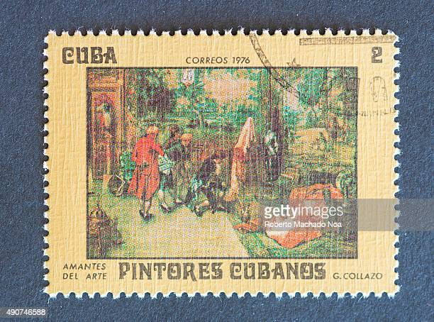 Cuban 1976 stamp on 'Painters of Cuba' series depicting painting 'Lovers of Art' by Guillermo Collazo Guillermo Collazo was a Cuban painter and...