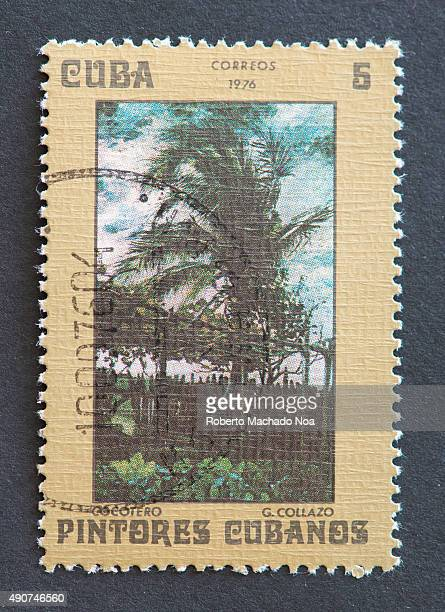 Cuban 1976 stamp on 'Painters of Cuba' series depicting painting of a coconut tree by Guillermo Collazo Guillermo Collazo was a Cuban painter and...