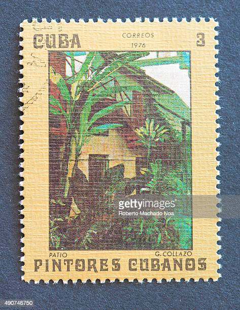 Cuban 1976 stamp on 'Painters of Cuba' series depicting painting of a courtyard by Guillermo Collazo Guillermo Collazo was a Cuban painter and...