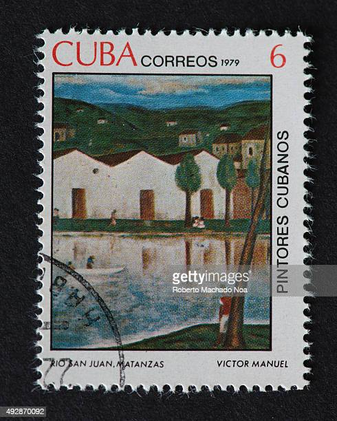 Cuban 1979 stamp on 'Painters of Cuba' series depicting a painting by Victor Manuel named 'Rio San Juan Matanzas' The painting shows the River San...