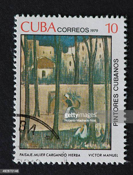 Cuban 1979 stamp on 'Painters of Cuba' series depicting a painting by Victor Manuel named ''Paisaje Mujer Cargando Hierba' The painting shows a woman...