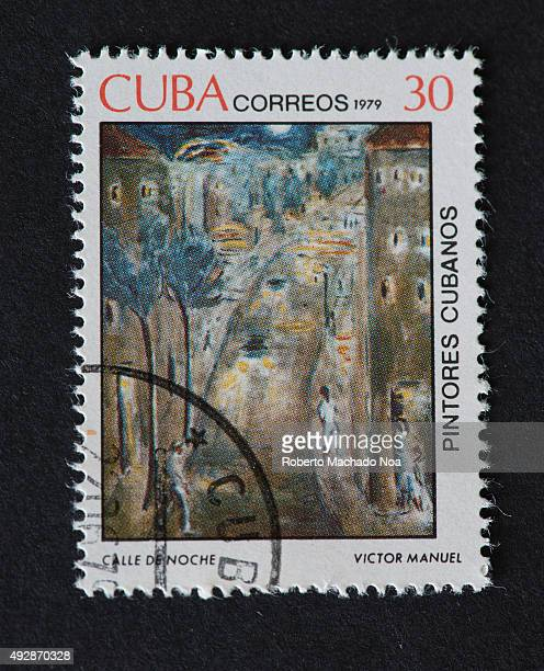 Cuban 1979 stamp on 'Painters of Cuba' series depicting a painting by Victor Manuel named ''Calle de Noche' The painting shows a street at night