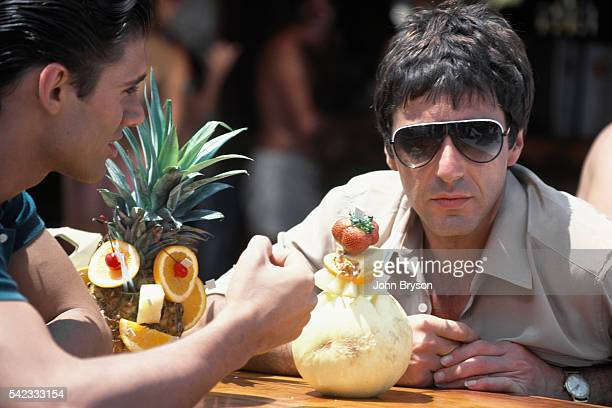Cuban actor Steven Bauer and American actor Al Pacino on the set of Scarface directed by Brian de Palma