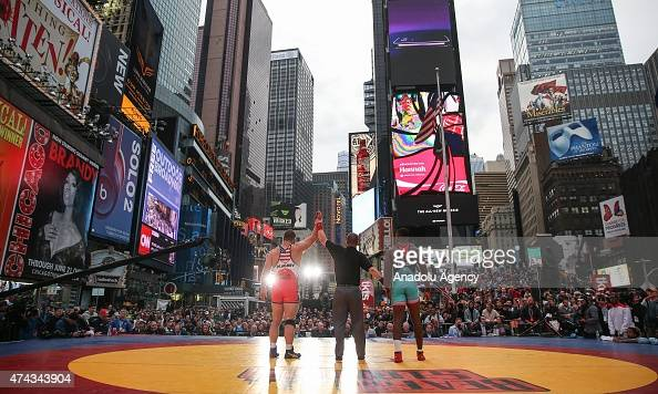 Cuban Andres Ramos Dinza and American Tervel Dlagnev compete in the Men's freestyle wrestling at 125 kg/275 lbs class during Salsa in the Square...