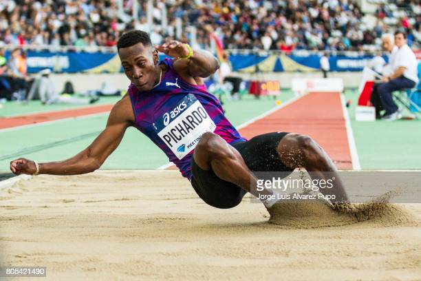 Cuban athlete Pedro Pablo Pichardo lands into the sand pit in the Triple Jump competition during the Meeting de Paris of the IAAF Diamond League 2017...