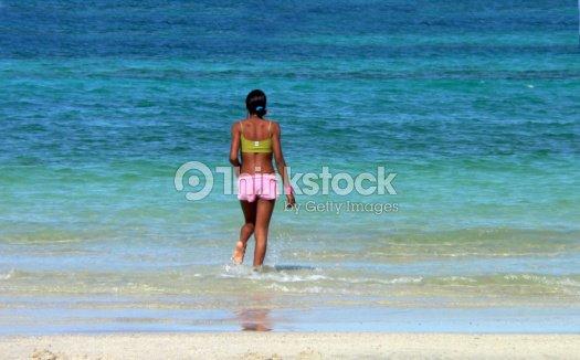 Cuban beauty on beach : Stock Photo