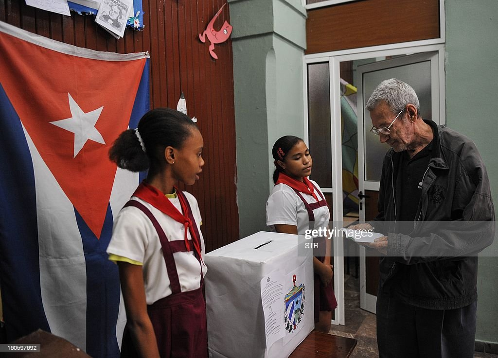 A Cuban casts his vote at a polling station in Havana on February 3, 2013. Cubans on Sunday elected provincial delegates to to the People's Power assemblies and parliamentary deputies.