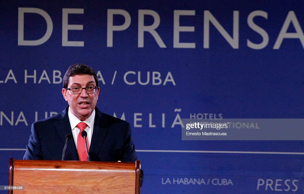 Cuban Chancellor Bruno Rodriguez Parrilla speaks During a press conference on March 17, 2016 in Havana, Cuba.