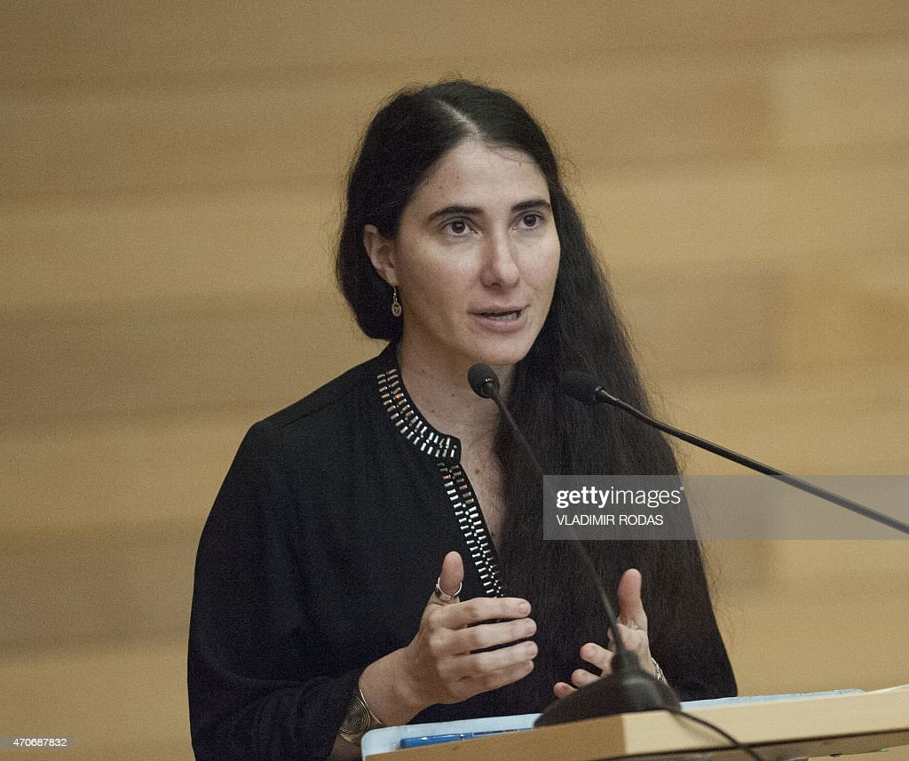 Cuban dissident blogger <a gi-track='captionPersonalityLinkClicked' href=/galleries/search?phrase=Yoani+Sanchez&family=editorial&specificpeople=5329857 ng-click='$event.stopPropagation()'>Yoani Sanchez</a> delivers a speech at the Adolfo Ibañez University in Santiago, Chile, on April 22, 2015. Sanchez gave her perspective about Cuba and talked about her life as a blogger. AFP PHOTO / Vladimir Rodas