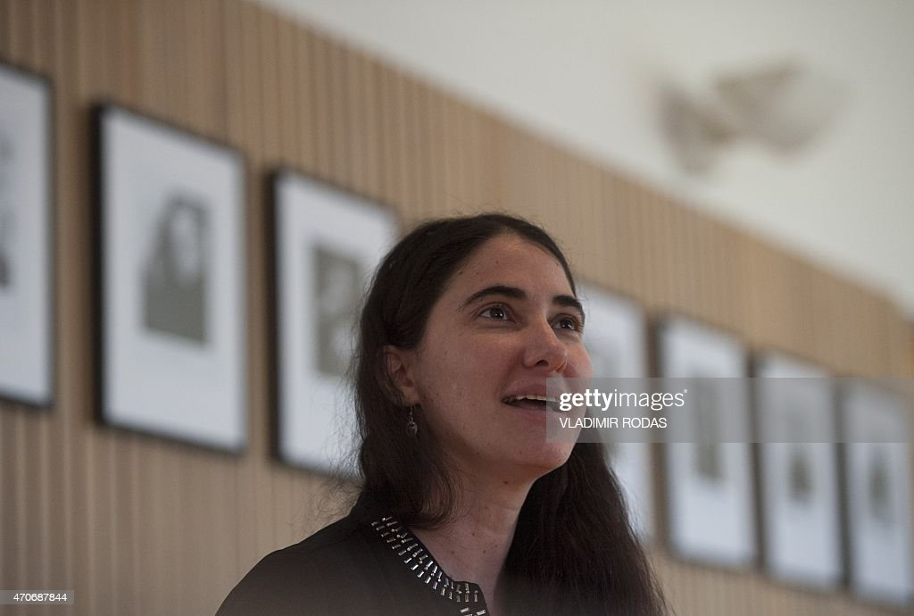 Cuban dissident blogger <a gi-track='captionPersonalityLinkClicked' href=/galleries/search?phrase=Yoani+Sanchez&family=editorial&specificpeople=5329857 ng-click='$event.stopPropagation()'>Yoani Sanchez</a> offers a press conference in Santiago, on April 22, 2015. During her visit to Chile, Sanchez addressed a crowd at the Adolfo Ibañez University, where she gave her perspective about Cuba and talked about her life as a blogger. AFP PHOTO / Vladimir Rodas