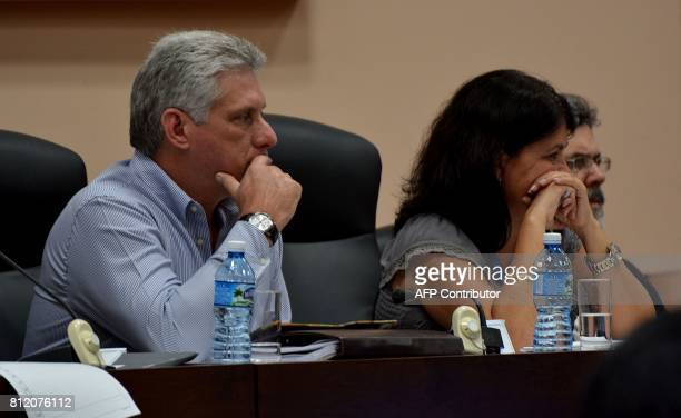 Cuban First Vice President Miguel DiazCanel attends the Permanent Working Committees of the National Assembly of the People's Power in Havana on July...