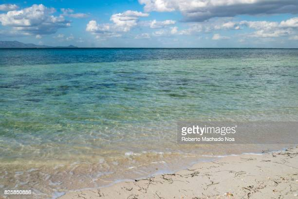 Cuban hidden beauty Different shades clearly visible in the transparent sea water on a white sand tropical pristine beach