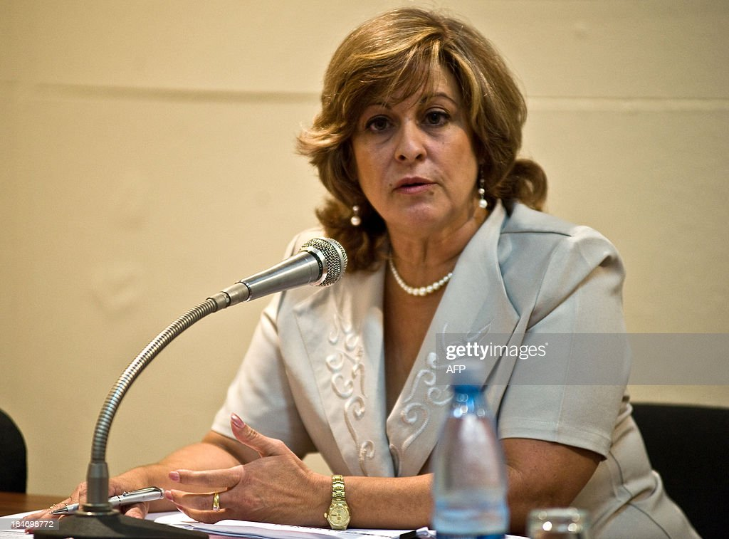 Cuban Justice Minister, Maria Esther Reus Gonzalez, offers a press conference regarding prostitution, human trafficking, sexual tourism and abuse in Cuba, in Havana, on October 15, 2013. In 2012, 224 people were sentenced on charges of procurement, Reus informed. AFP PHOTO / Yamil LAGE