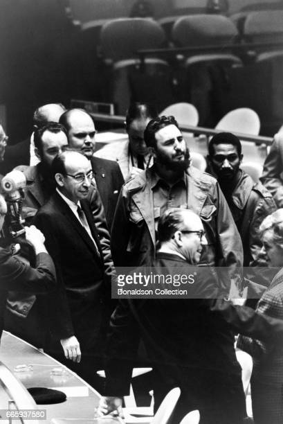 Cuban leader Fidel Castro at a meeting of the United Nations General Assembly on September 22 1960 in New York New Yotk