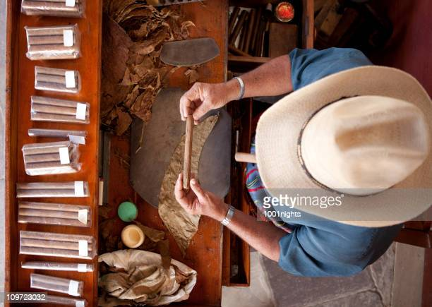 Cuban man rolling cigar