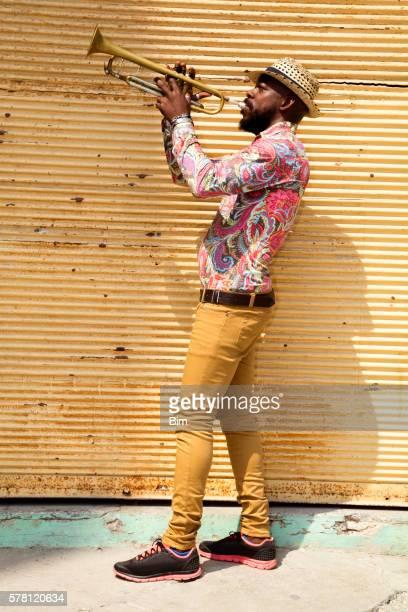 Cuban musician playing trumpet, Havana, Cuba