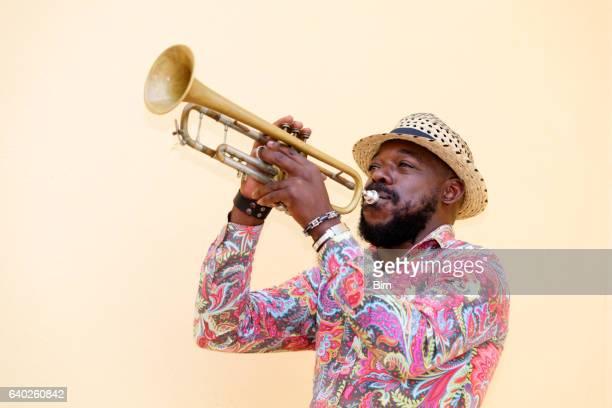 cubain Musicien jouant trompette, La Havane, Cuba