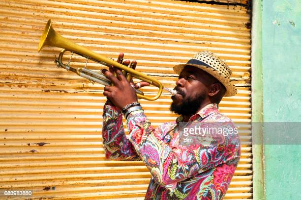 Cuban musician playing trumpet