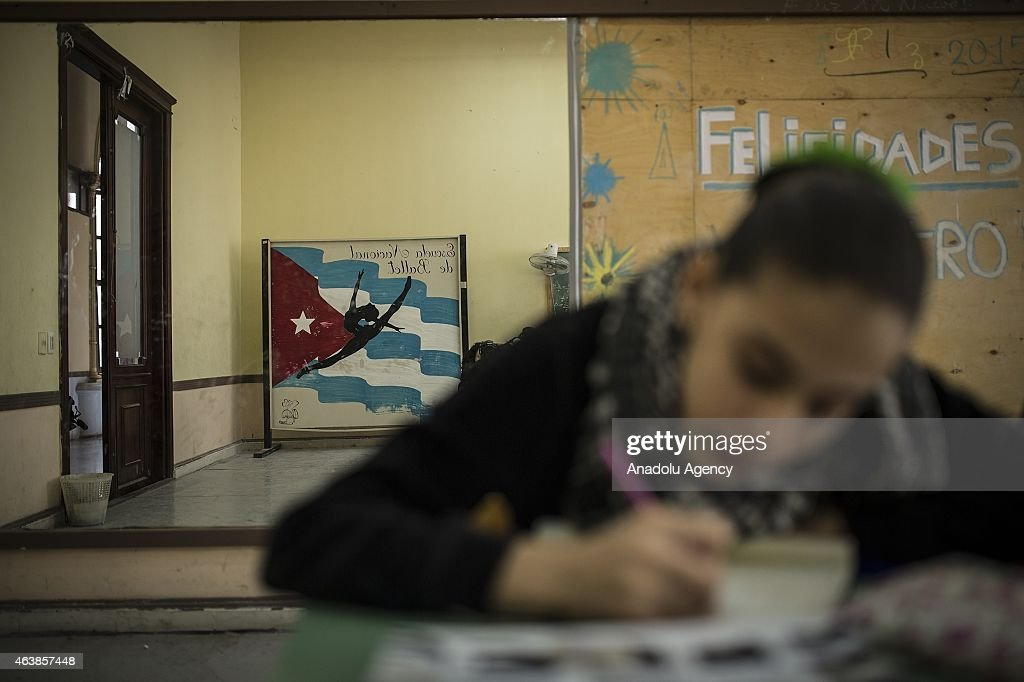 A Cuban National Ballet School ballet dancer studies at the school in Havana, Cuba on February 11, 2015. Cuban National Ballet School, founded in 1931, is the biggest ballet school in the world with approximately 3,000 students in Cuba. Ballet, as an art, had became an important field of art with the Fidel Castro's revolution as well as it gained reputation around the world.