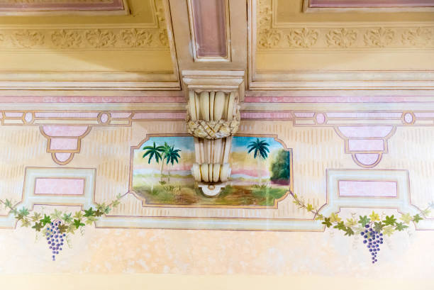 Colonial Painting In Ceiling Of Building The Caribbean Island Is Famous For Well Preserved