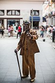 Cuban old man with a cigar gestures on the street in Old Havana capital of Cuba on February 11 2015 Number of tourists increase gradually Old Havana...