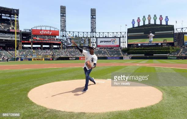 Cuban outfielder Luis Robert of the Chicago White Sox throws out a ceremonial first pitch prior to the game against the Detroit Tigers on May 27 2017...