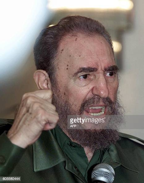 Cuban President Fidel Castro addresses a press conference on the sidelines of the X IberoAmerican summit 17 November 2000 in Panama City Castro named...