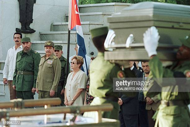 Cuban President Fidel Castro and his brother Armed Forces Minister Raul Castro attend the funeral of Carlos Rafael Rodriguez 09 December in Havana...