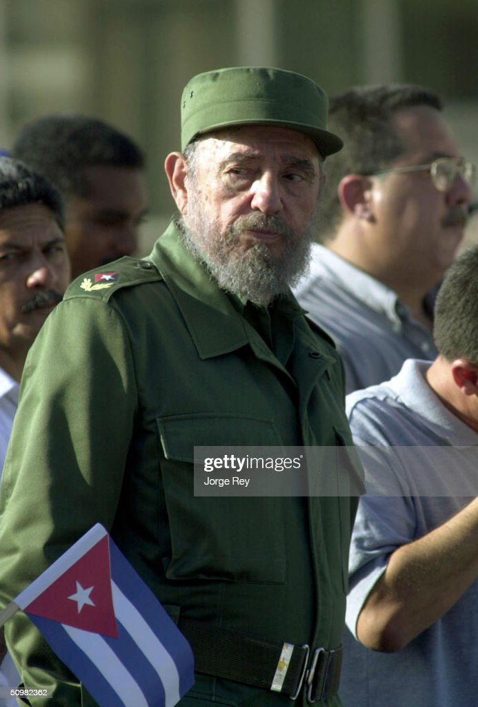 Cuban President <a gi-track='captionPersonalityLinkClicked' href=/galleries/search?phrase=Fidel+Castro&family=editorial&specificpeople=67210 ng-click='$event.stopPropagation()'>Fidel Castro</a> attends a demonstration outside the U.S. Interest Section June 21, 2004 in Havana, Cuba. Castro addressed tens of thousands of Cubans, criticizing U.S. travel restrictions.