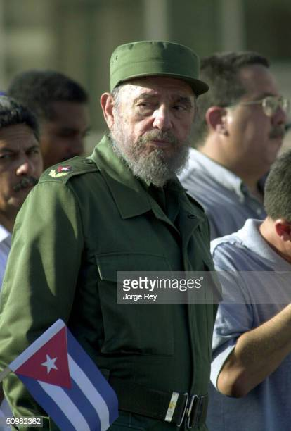 Cuban President Fidel Castro attends a demonstration outside the US Interest Section June 21 2004 in Havana Cuba Castro addressed tens of thousands...
