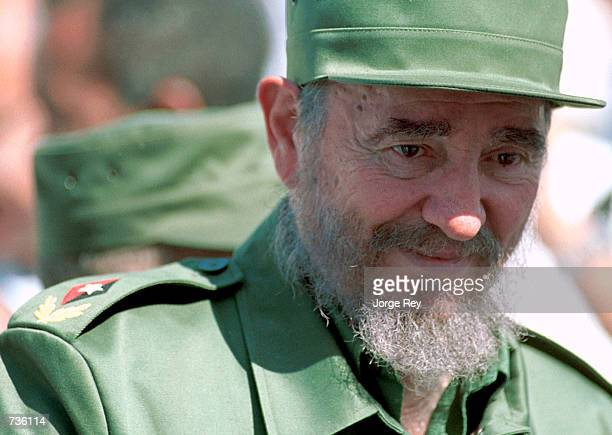 Cuban president Fidel Castro attends a protest against the US embargo of Cuba November 14 2000 in front of the United States Interests Section in...