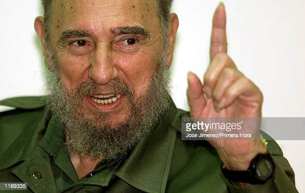 Cuban President Fidel Castro attends the Latin American and Caribbean Press Congress October 8 2001 in La Habana Cuba
