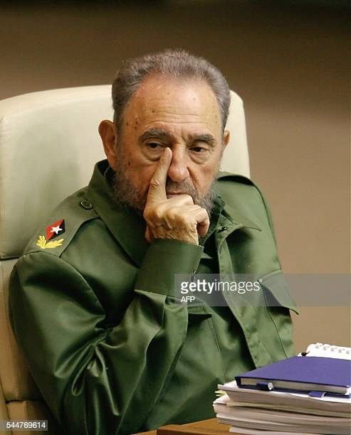 Cuban President Fidel Castro attends the second day of the International Meeting Against Terrorism 03 July 2005 Havana Hundreds of international...