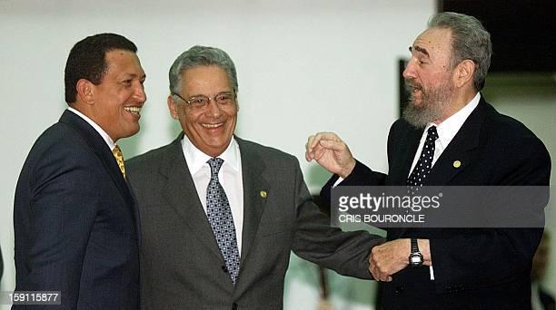 Cuban President Fidel Castro Brazilian President Fernando Henrique Cardoso and Venezuelan President Hugo Chavez speaks during signing ceremonies for...