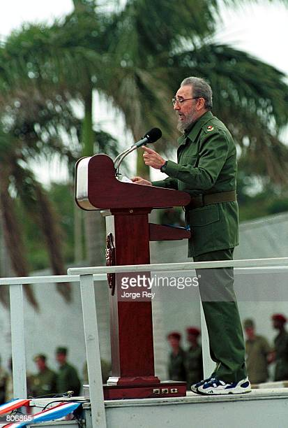Cuban President Fidel Castro delivers a speach May 1 2001 during May Day celebrations at the Revolution Plaza in Havana Cuba Castro protested the...