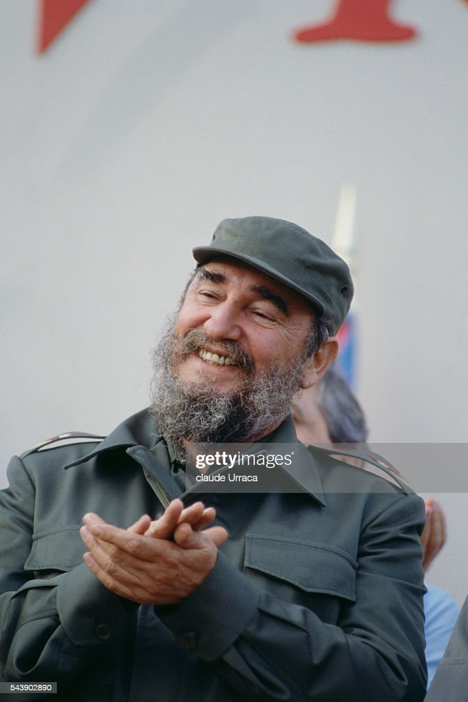 Cuban President Fidel Castro during opening of a sugar refinery in the Malacatoya area