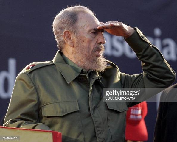 Cuban President Fidel Castro gestures during a political rally of the Alternative Mercosur Summit in Cordoba Argentina 21 July 2006 South American...