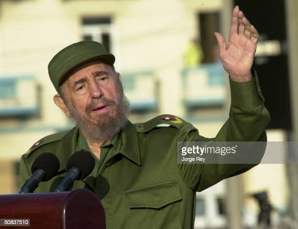 Cuban President Fidel Castro gives a speech in front of the US Interest Section May 14 2004 in Havana Castro led a massive protest march against new...