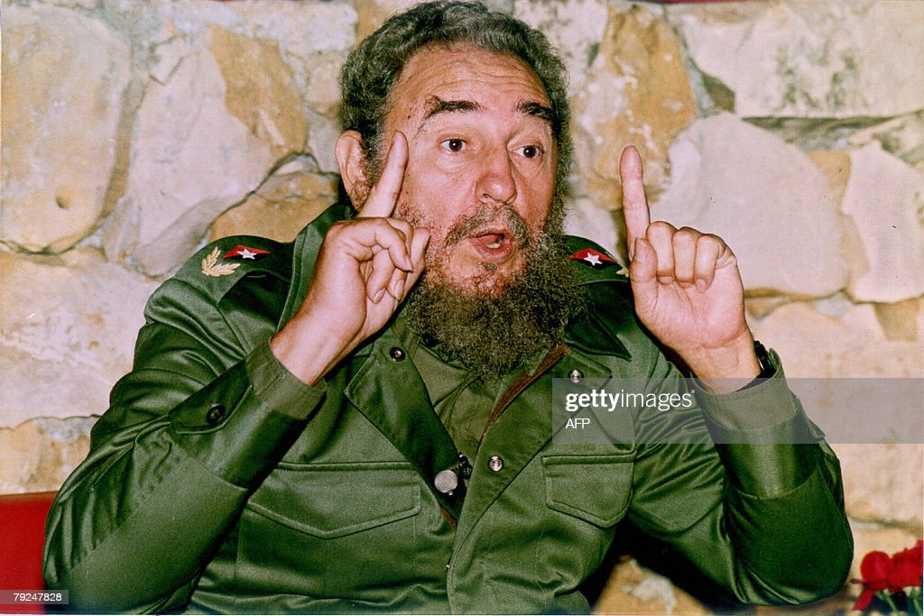 Cuban president, Fidel Castro, holds a press conference for Japanese journalists at the National Botanic Garden in Havana, 17 April 1990.