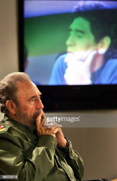 Cuban President Fidel Castro listens to Argentinian ex soccer star Diego Armando Maradona during the recording of Maradona's TV program 'The 10's...