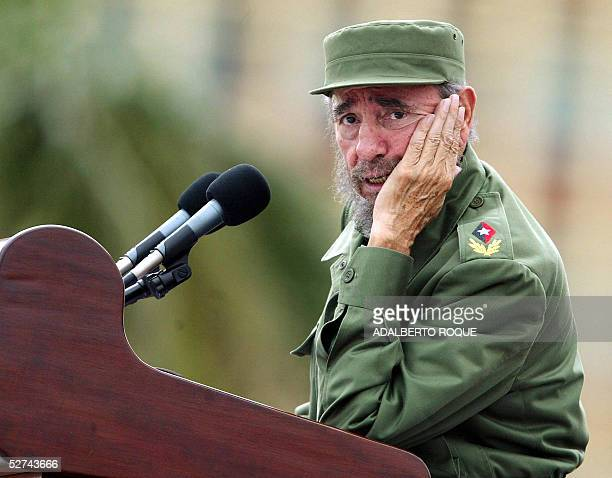Cuban President Fidel Castro presides over a massive May Day demonstration at Havana's Plaza de la Revolucion 01 May 2005 More than one million...