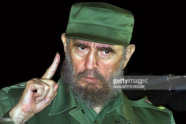 Cuban President Fidel Castro speaks 03 August 1999 in Matanzas Cuba on the 46th anniversary of the assault on the Moncada Barracks by Castro's rebels...