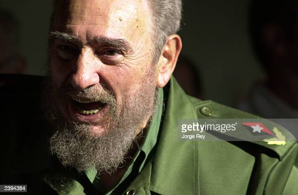 Cuban President Fidel Castro speaks at the opening of the new 'Playa Pesquero' hotel January 21 2003 in the Guardalavaca tourist area of Holguin...