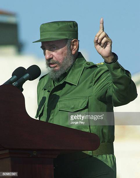 Cuban President Fidel Castro speaks during a rally outside the US Interest Section June 21 2004 in Havana Cuba Castro addressed tens of thousands of...